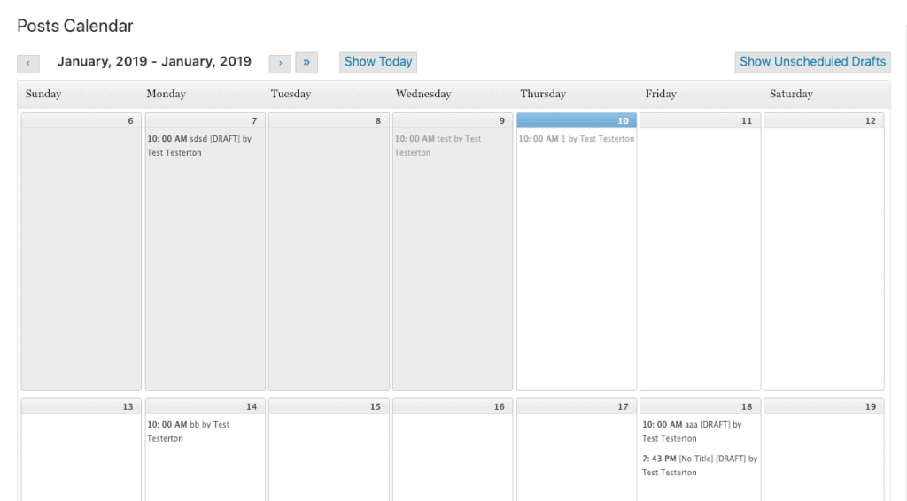 Editorial Calendar's main interface