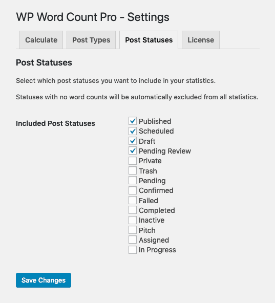 WP Word Count Pro Settings - Post Statuses