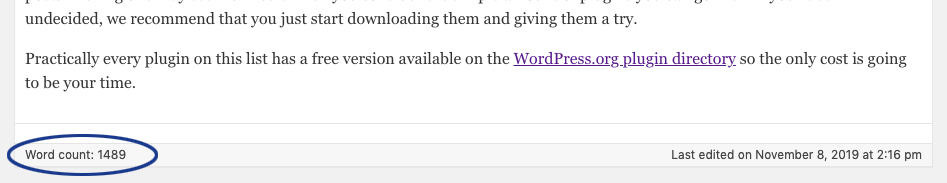 Word Count in the WordPress Classic Editor